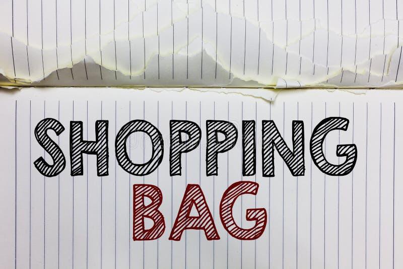 Handschriftstext Einkaufstasche Konzeptbedeutung Behälter für das Tragen des persönlichen Besitzes oder der Käufe öffnen Notizbuc lizenzfreies stockfoto