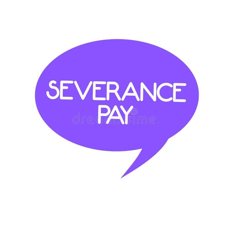 Handschriftstext Entlassungsabfindung Das Konzept, das Menge bedeutet, zahlte einem Angestellten auf der Beendigung eines Vertrag vektor abbildung