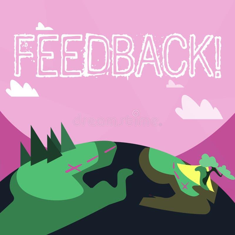 Handschriftstext Feedback Konzeptbedeutung Kunden-Bericht-Meinungs-Reaktions-Bewertung geben einen Wartezurück Berg lizenzfreie abbildung