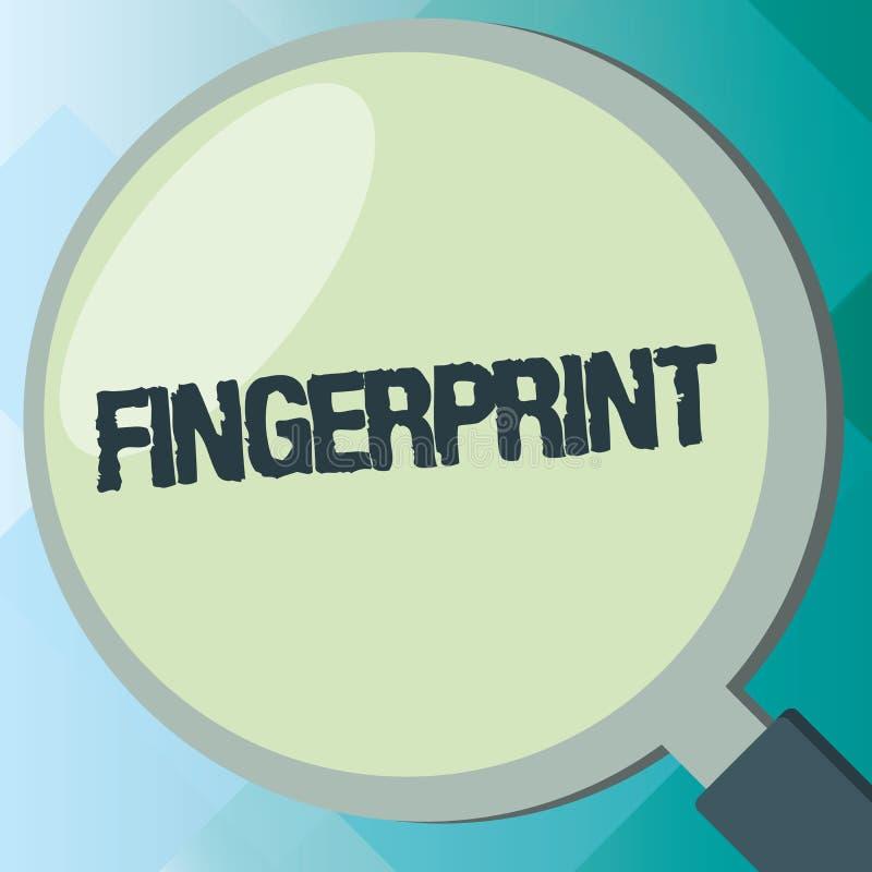 Handschriftstext Fingerabdruck Konzeptbedeutungseindruck oder -kennzeichen gemacht auf einer Oberfläche durch eine zeigende Finge lizenzfreie abbildung