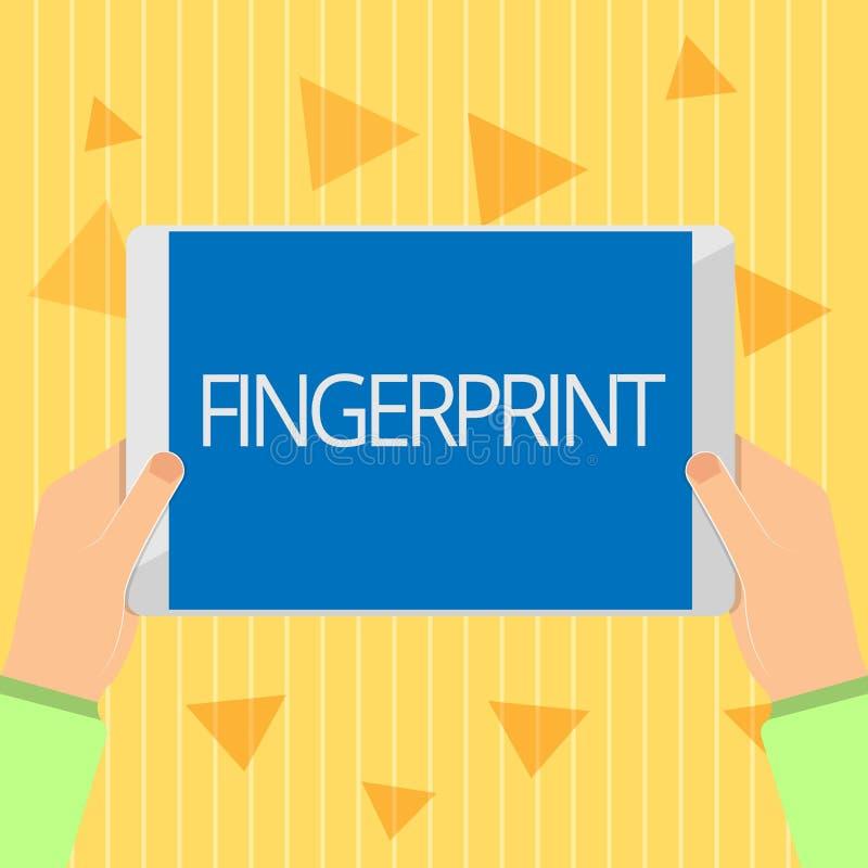 Handschriftstext Fingerabdruck Konzeptbedeutungseindruck oder -kennzeichen gemacht auf einer Oberfläche durch eine zeigende Finge stock abbildung