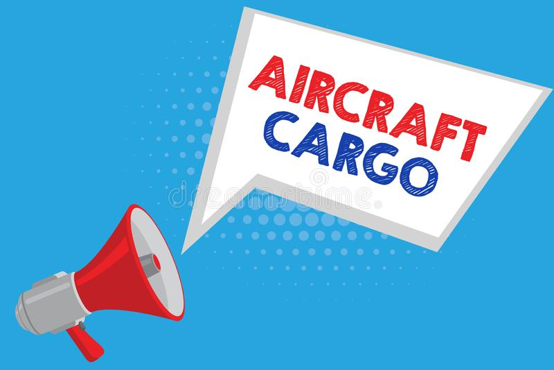 Handschriftstext Flugzeug-Fracht Konzeptbedeutung Transportunternehmen-Luftpost-Transportwaren durch Flugzeug stock abbildung