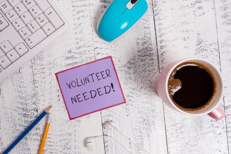Handschriftstext Freiwilliger ben?tigt Konzept, das Bedarfsarbeit f?r Organisation bedeutet, ohne gezahlt zu werden lizenzfreie stockfotografie