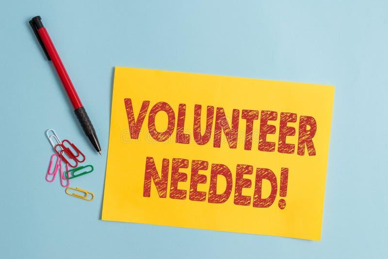 Handschriftstext Freiwilliger ben?tigt Konzeptbedeutung, die das Demonstrieren zur Arbeit um Organisation bittet, ohne gezahlt zu stockfotos
