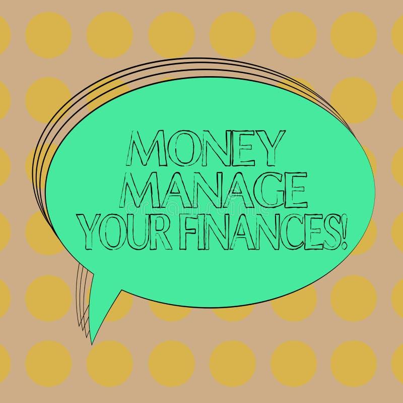 Handschriftstext Geld handhaben Ihre Finanzen Konzeptbedeutung machen gute Verwendung von Ihrem Einkommen, das leeres Oval invest vektor abbildung