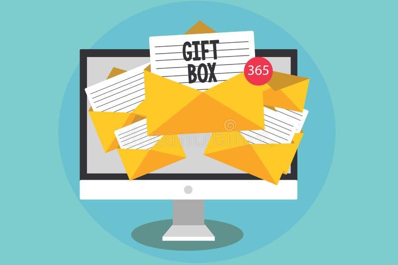 Handschriftstext Geschenkbox Das Konzept, das kleines cointainer A mit den Designen fähig sind zur Behandlung bedeutet, stellt de lizenzfreie abbildung