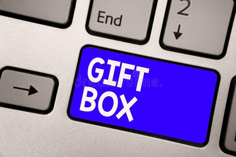 Handschriftstext Geschenkbox Das Konzept, das kleines cointainer A mit den Designen fähig sind zur Behandlung bedeutet, stellt Ta vektor abbildung
