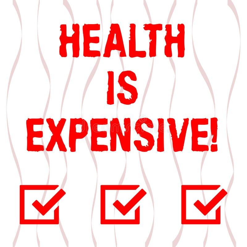 Handschriftstext Gesundheit ist teuer Das Konzept, das mach's- gutKörper bedeutet, essen gesunden Spielsport, Verletzung Vertikal stock abbildung
