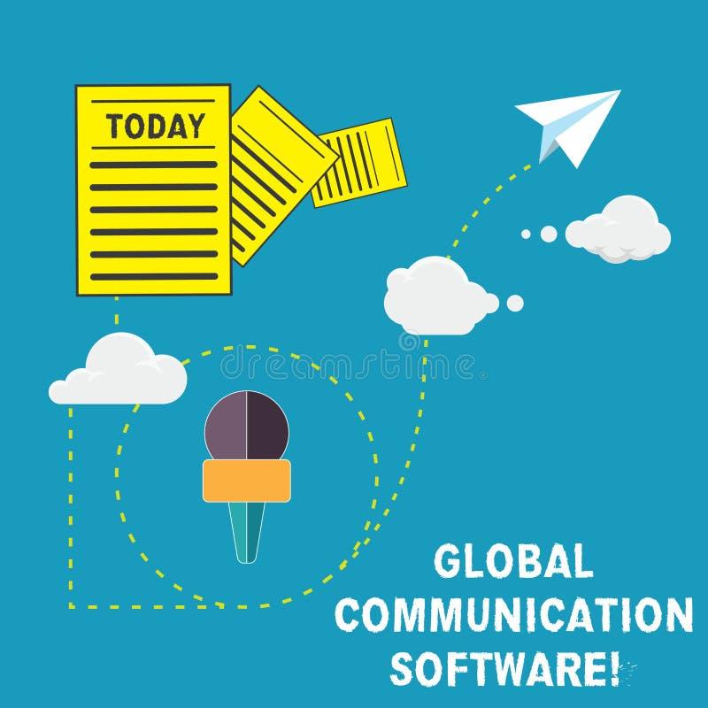 Handschriftstext globale Kommunikations-Software Konzept, das Weisen bedeutet, Vertretung über geografischer Information anzuschl stock abbildung