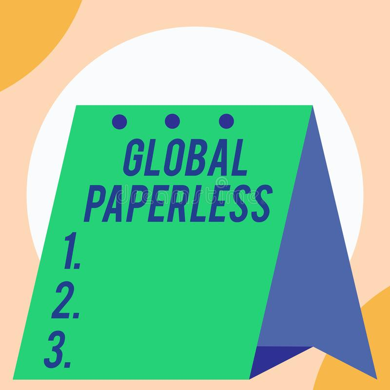 Handschriftstext globales ohne Papier Konzeptbedeutung, die Technologiemethoden wie E-Mail anstelle offenen Papiergroßen anstrebt lizenzfreie abbildung