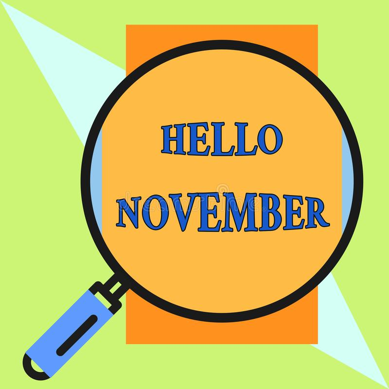 Handschriftstext hallo November Konzeptbedeutung Willkommen der elfte Monat des Jahr Monats vor Dezember um vektor abbildung
