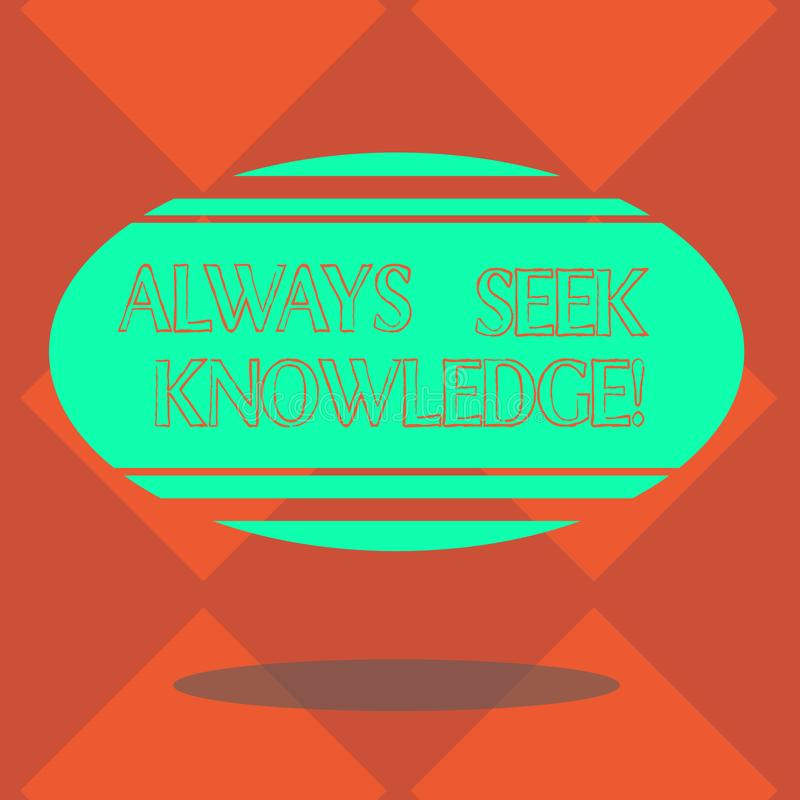 Handschriftstext immer Suchvorgang-Wissen Starke Richtung Konzeptbedeutung Autodidact der ausgesuchten ovalen Form Wissen freien  lizenzfreie abbildung