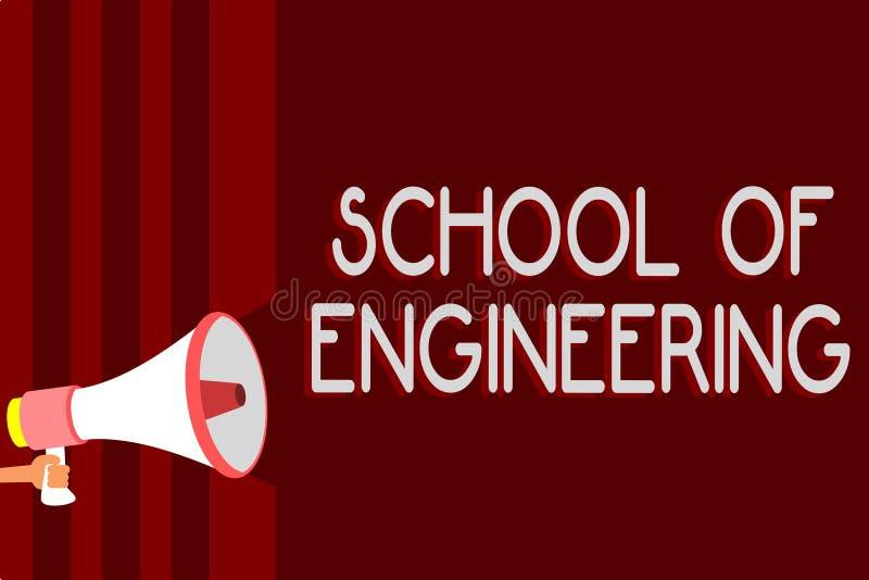 Handschriftstext Ingenieurschule Das Konzeptbedeutungscollege, zum der mechanischen Kommunikation zu studieren unterwirft warnend stock abbildung