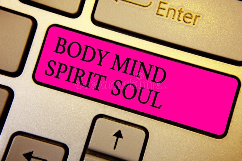 Handschriftstext Körper-Sinnesgeist-Seele Konzept, das orange Kristallberechnung der persönlichen Balancen-Therapie-Bewusstseinss stockfotos