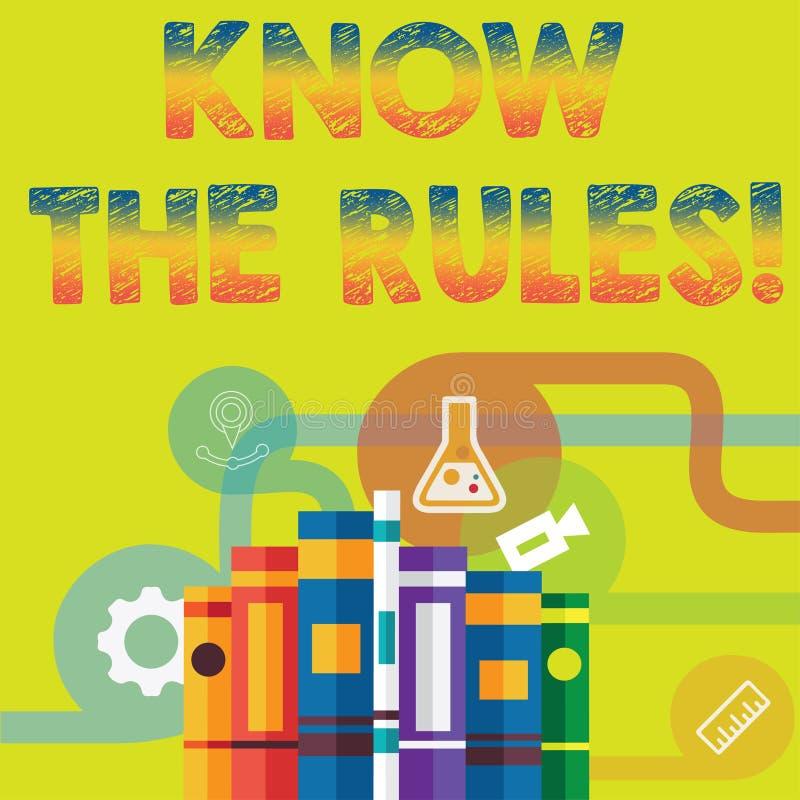 Handschriftstext kennen die Regeln Konzeptbedeutung berücksichtigt die Gesetzesregelungs-Protokoll-Verfahren  stock abbildung