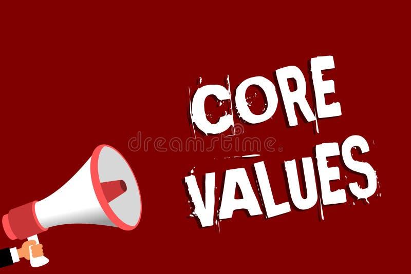 Handschriftstext Kern-Werte Konzeptbedeutungs-Glaubensperson oder Organisationsansichten als seiend- Bedeutung Mann, der Megaphon stock abbildung