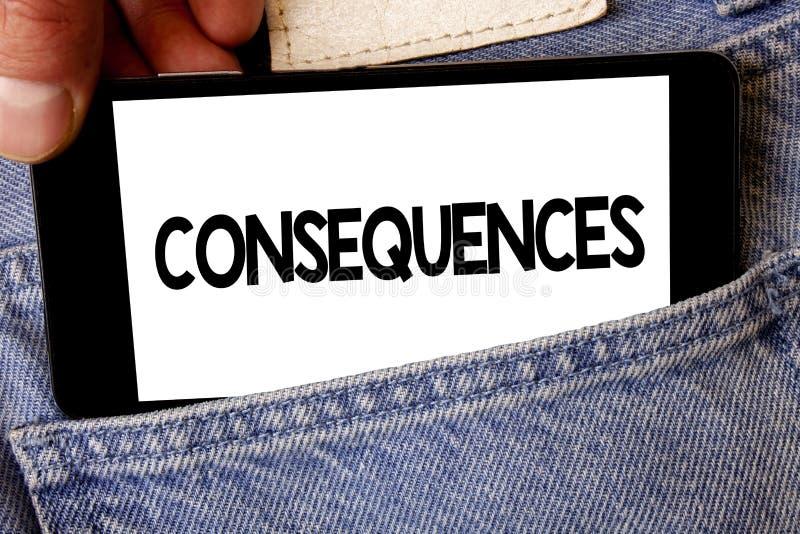 Handschriftstext Konsequenzen Konzeptbedeutung Ergebnis-Ergebnis-Ertrag-Fazit-Schwierigkeits-Verzweigungs-Schlussfolgerungs-Manng stockbilder