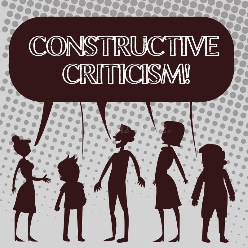 Handschriftstext konstruktive Kritik Konzeptbedeutungsprozeß des Angebots gültigen und wohlen begründeten Meinungen Schattenbilde stock abbildung