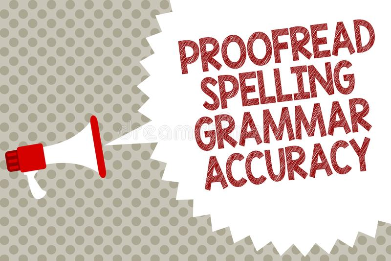 Handschriftstext Korrektur gelesen, Grammatik-Genauigkeit buchstabierend Das Konzept, das grammatisch korrektes bedeutet, vermeid vektor abbildung