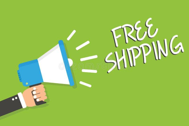 Handschriftstext kostenloser Versand Konzeptbedeutung Fracht-Fracht-Lieferungs-Ladungs-Nutzlasten-Versand-Transport-Mann, der Meg stock abbildung