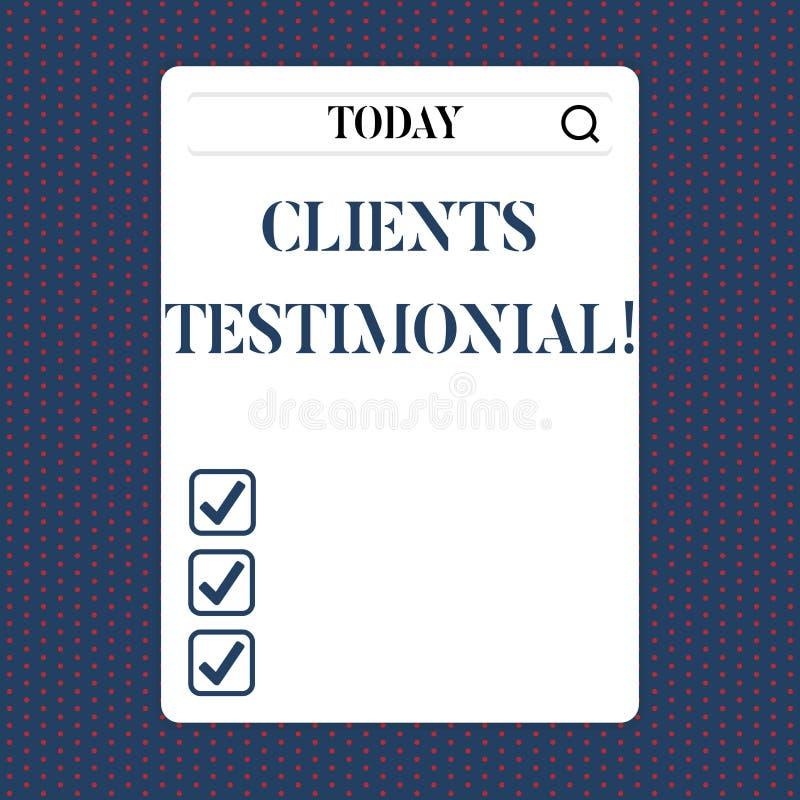 Handschriftstext Kunden-Referenz Das Konzept, das Kunden-persönliche Erfahrungen bedeutet, wiederholt Meinungs-Feedback vektor abbildung