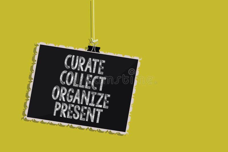 Handschriftstext Kurat sammeln organisieren Geschenk Konzeptbedeutung, die Organisation Curation darstellt hängende Tafel auszieh lizenzfreie abbildung