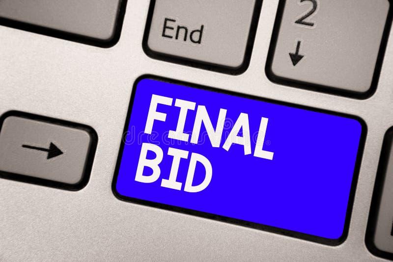 Handschriftstext letztes Angebot Konzept, welches die entschiedenen Kosten eines Einzelteils bedeutet, das normalerweise sehr teu lizenzfreies stockbild
