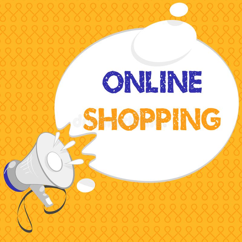 Handschriftstext on-line-Einkaufen Konzeptbedeutung erlaubt Verbrauchern, ihre Waren über dem Internet zu kaufen stock abbildung
