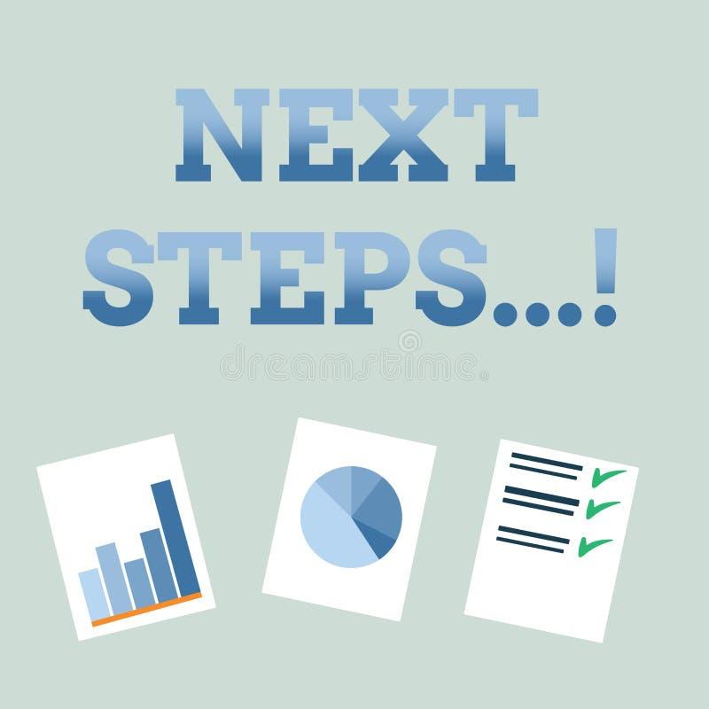 Handschriftstext nächste Schritte Konzeptbedeutung nach Bewegungs-Strategie-Plan geben Richtungs-Richtlinie stock abbildung
