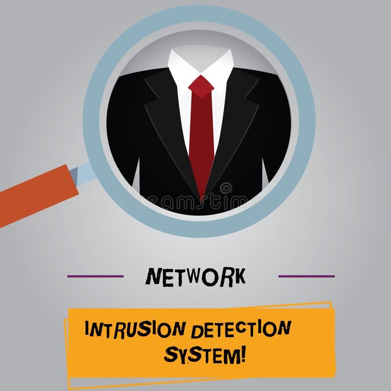 Handschriftstext Netz-Eindringen-Erfassungssystem Konzept, das Sicherheitssicherheits-Multimediasysteme Lupe bedeutet vektor abbildung