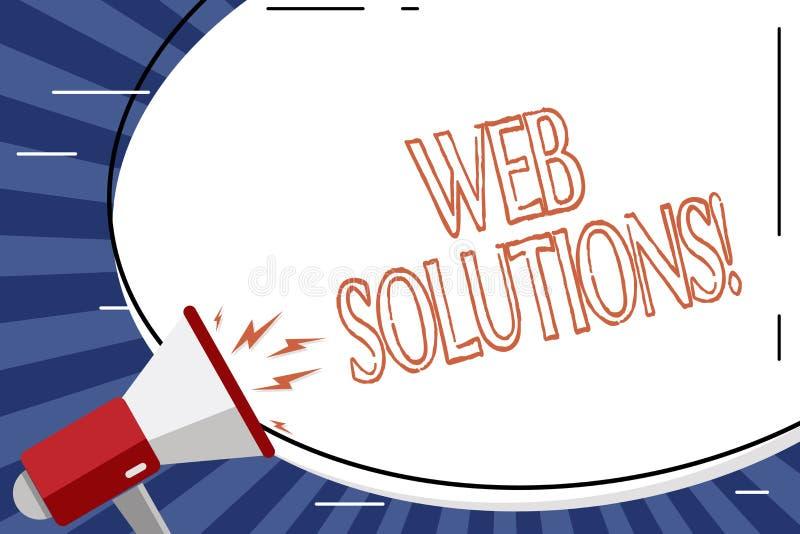 Handschriftstext Netz-Lösungen Konzeptbedeutungsprogramm über Netz und zugänglichen durchgehenden web browser freien Raumes we stock abbildung