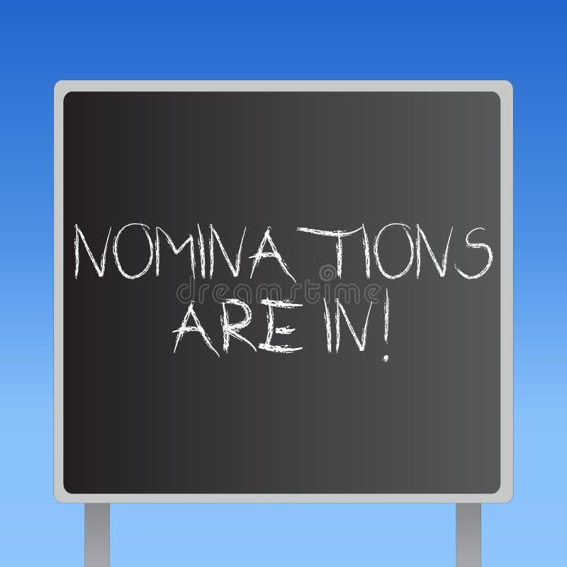 Handschriftstext Nominierungen sind herein Konzept, das jemand formal wählen offizieller Kandidat für einen Preis bedeutet stock abbildung