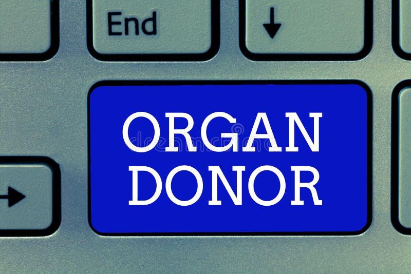 Handschriftstext Organ-Spender Konzept, das a-Demonstrieren bedeutet, wer ein Organ von ihrem Körper für Versetzung anbietet lizenzfreies stockbild