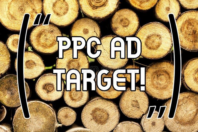 Handschriftstext Ppc-Anzeigen-Ziel Konzept, welches die on-line-Kampagne der Bezahlung-pro-Klick- Werbungsmarketingstrategien höl stockfotos