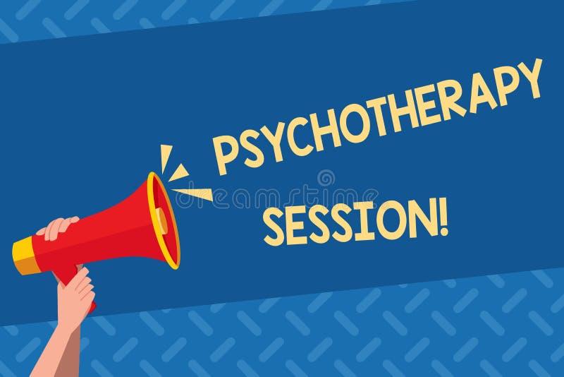 Handschriftstext Psychotherapie-Sitzung Konzept, das Behandlungen bedeutet, die bei der menschlichen Hand der psychischen Problem stock abbildung