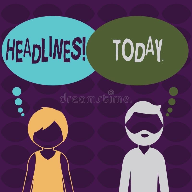 Handschriftstext Schlagzeilen Konzeptbedeutung Überschrift an der Spitze eines Artikels Zeitung in bärtigem Mann und in Frau gesi lizenzfreie abbildung
