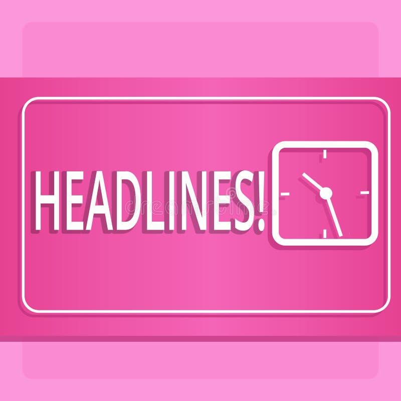 Handschriftstext Schlagzeilen Konzeptbedeutung Überschrift an der Spitze eines Artikels in Zeitung modernem Entwurf von transpare lizenzfreie abbildung