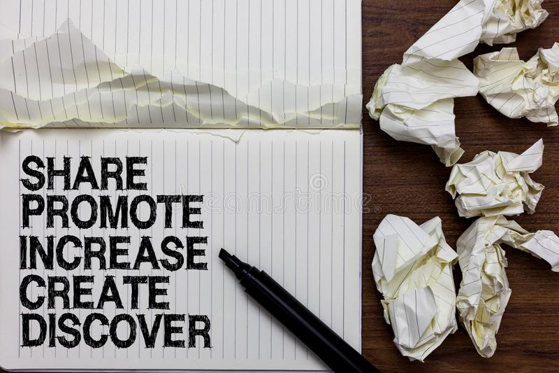 Handschriftstext-Schreiben Anteil fördern Zunahme schaffen entdecken Konzeptbedeutung Marketing-Inspirationsmotivation Markierung stockfotos