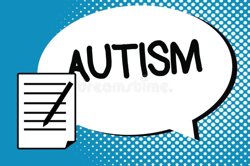 Handschriftstext-Schreiben Autismus Konzeptbedeutung Schwierigkeit in dem Einwirken und Angelegenheiten auf andere Vertretung bil lizenzfreie abbildung