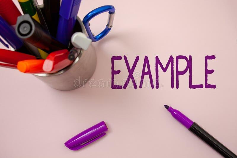 Handschriftstext-Schreiben Beispiel Konzeptbedeutung Illustrations-Beispielmodell, zum Führer-Erklärung zum Beispiel zu folgen we lizenzfreies stockfoto