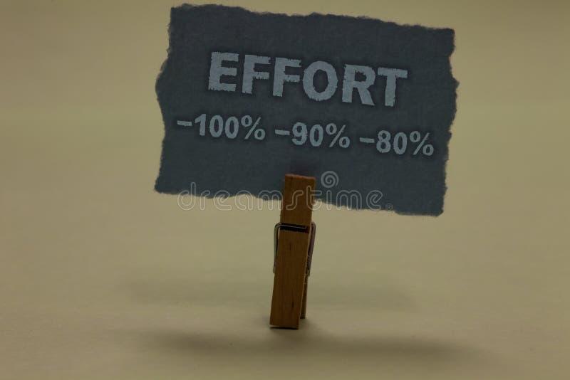 Handschriftstext-Schreiben Bemühung 100 90 80 Konzeptbedeutung Niveau von Bestimmungsdisziplin-Motivation Papierklammer behalten lizenzfreie stockfotos