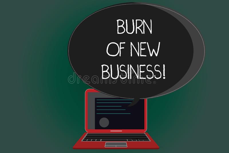 Handschriftstext-Schreiben Brand des neuen Geschäfts Konzeptbedeutung Menge Monatsbargeld, welches die Firma ausgibt lizenzfreie abbildung