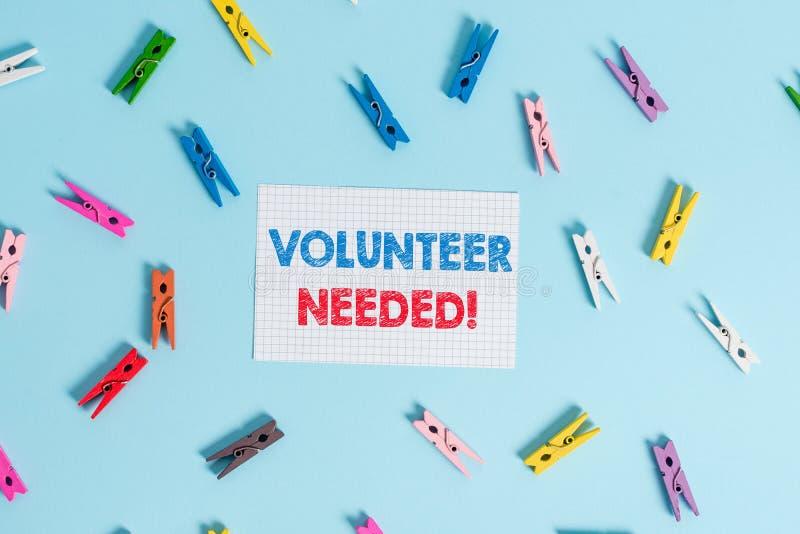Handschriftstext-Schreiben Freiwilliger ben?tigt Konzept, das Bedarfsarbeit für Organisation bedeutet, ohne gezahlt zu werden gef lizenzfreie stockfotos
