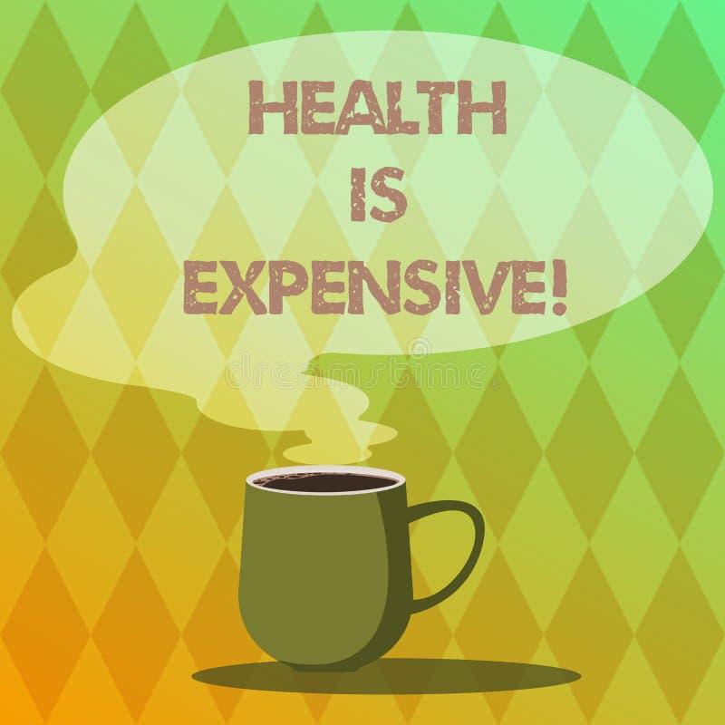 Handschriftstext-Schreiben Gesundheit ist teuer Das Konzept, das mach's- gutKörper bedeutet, essen gesunden Spielsport, Verletzun lizenzfreie abbildung