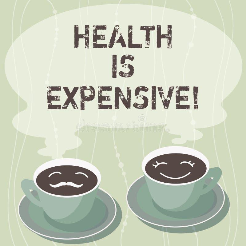 Handschriftstext-Schreiben Gesundheit ist teuer Das Konzept, das mach's- gutKörper bedeutet, essen gesunden Spielsport, Verletzun stock abbildung