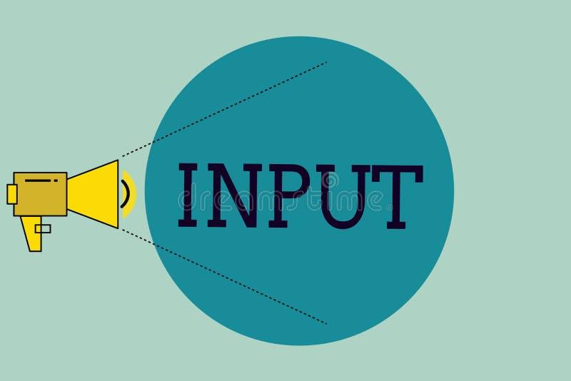 Handschriftstext-Schreiben Input Konzeptbedeutungsplatz, in dem Gerät durch Energie oder Informationen System einträgt stock abbildung