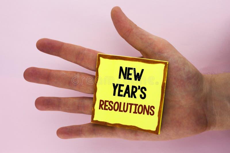 Handschriftstext-Schreiben Jahresvorsätze Konzeptbedeutung Ziel-Ziele visiert Entscheidungen für die folgenden 365 Tage an geschr stockbild