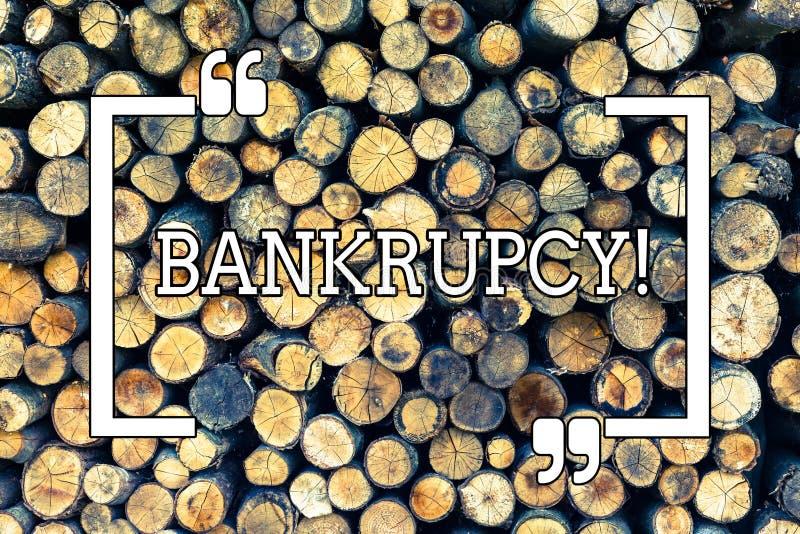 Handschriftstext-Schreiben Konkurs Konzeptbedeutung Firma unter Finanzkrise geht mit sinkenden Umsätzen Bankrott stockfotografie