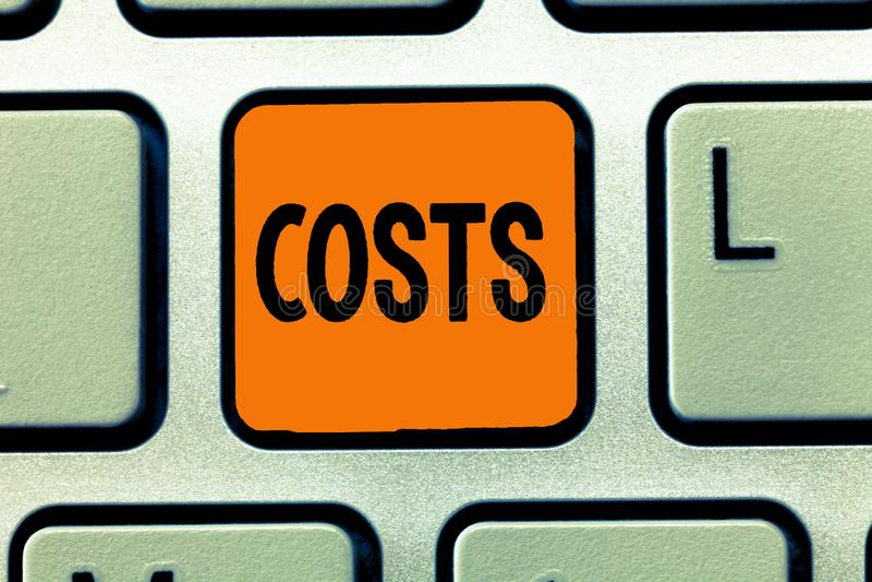 Handschriftstext-Schreiben Kosten Konzeptbedeutung Ausgaben-Menge zu kaufen, die zahlendes verbrauchtes sein muss, erreichen etwa lizenzfreie stockfotos