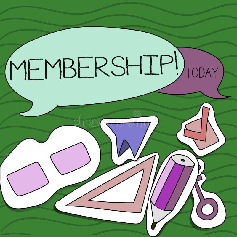Handschriftstext-Schreiben Mitgliedschaft Das Konzept, das seiend Mitgliedsteil einer Gruppe oder Team bedeutet, schließen sich e lizenzfreie abbildung